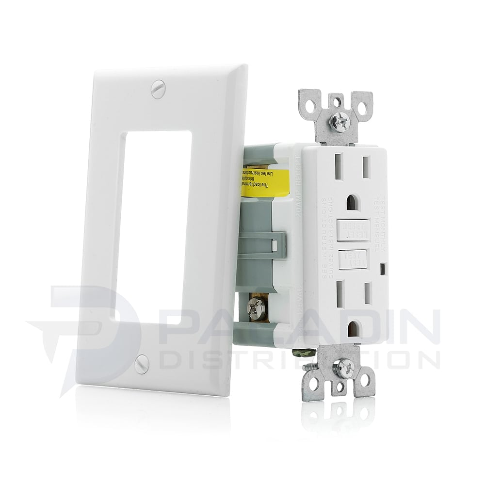 15 Amp GFCI Receptacle w/ Wall Plate UL Listed - White   Paladin ...