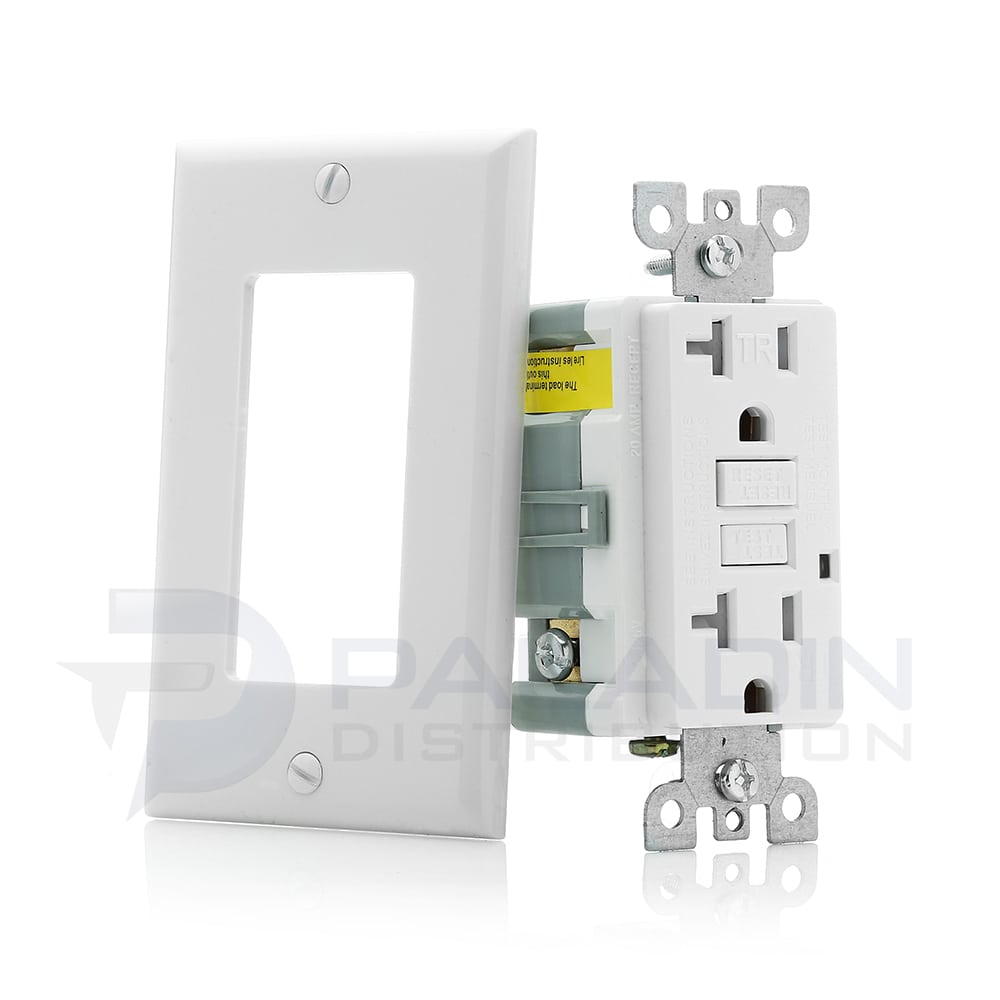 20 Amp Tamper Resistant GFCI Receptacle w/ Wall Plate UL Listed ...