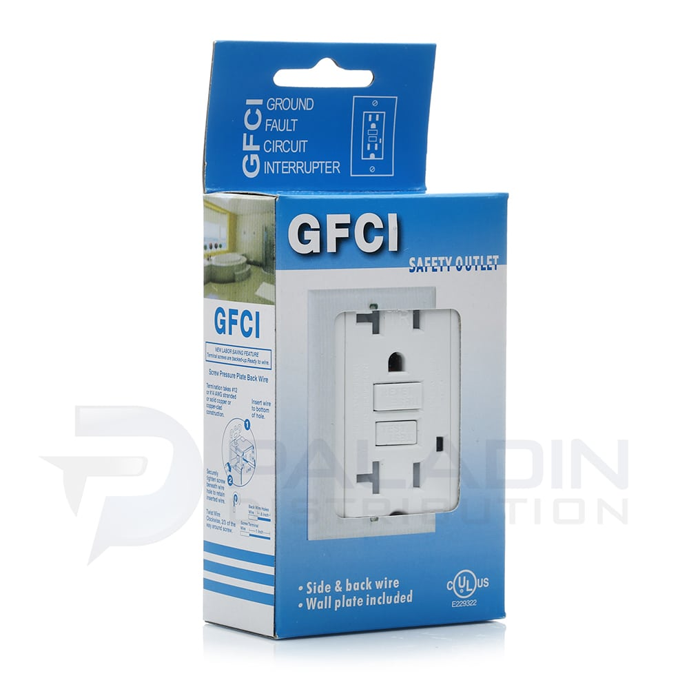20 Amp Tamper Resistant Gfci Outlet W Wall Plate Ul Listed White Wiring Ground Fault Shop Devices Receptacles Tr Paladin