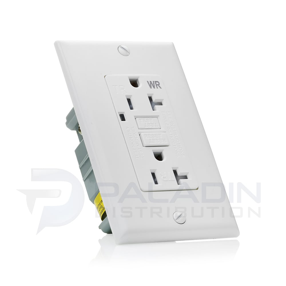 20 Amp Weather Resistant GFCI Receptacle w/ Wall Plate UL Listed ...
