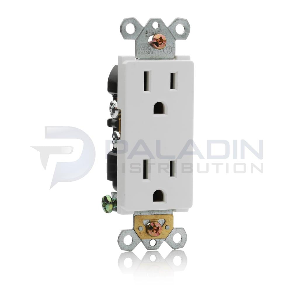 15 Amp Decorator Receptacle 125V - White 15A   Paladin Distribution