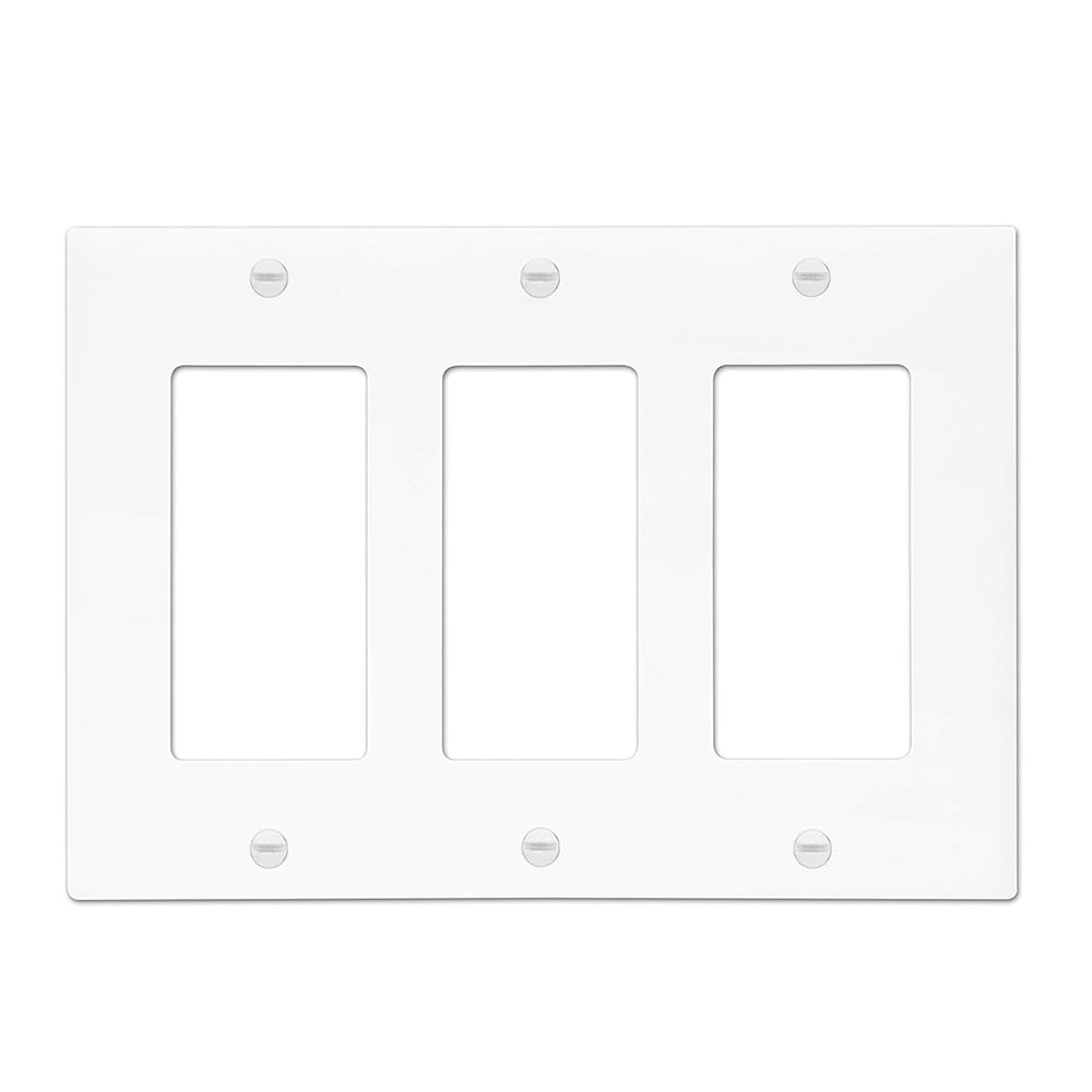 Unbreakable Decorator Switch Gfci Wall Plate Cover 3 Gang White