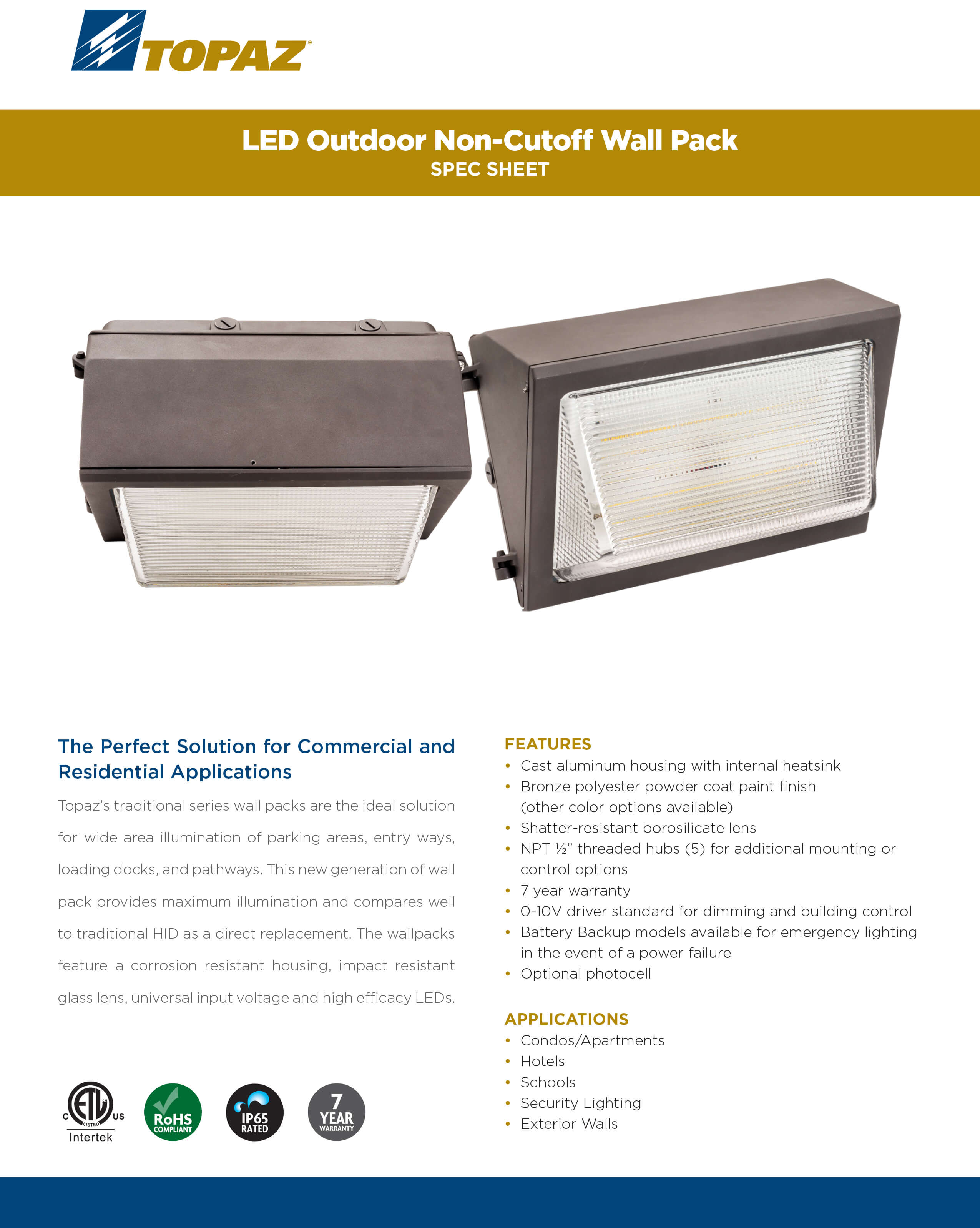 Topaz Outdoor LED Wall Pack Fixture - Paladin Distribution